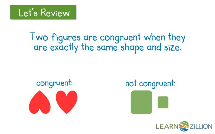 Two figures are congruent when they are exactly the same shape and size.