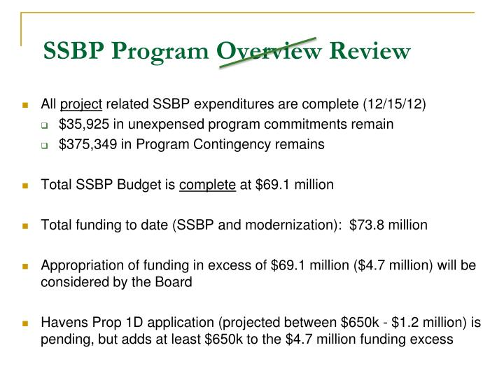 Ssbp program overview review