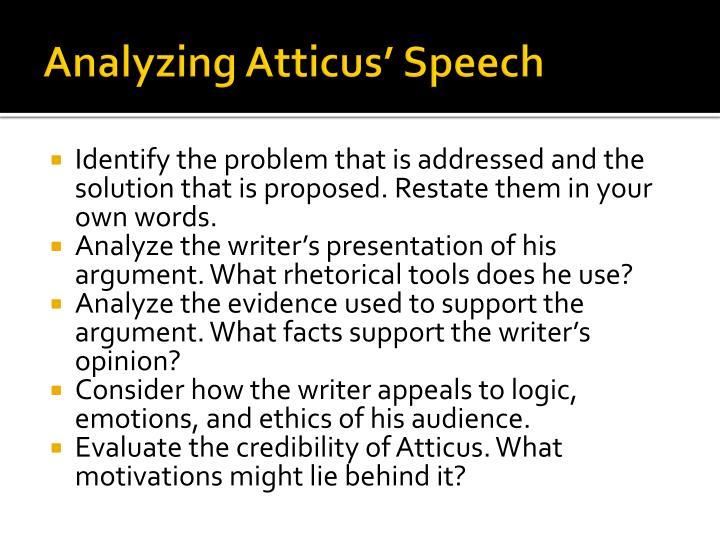 Analyzing Atticus' Speech