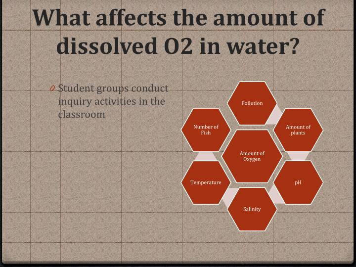 What affects the amount of dissolved O2 in water?