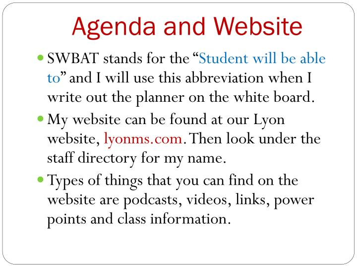 Agenda and Website