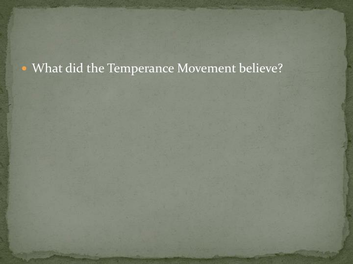 What did the Temperance Movement believe?