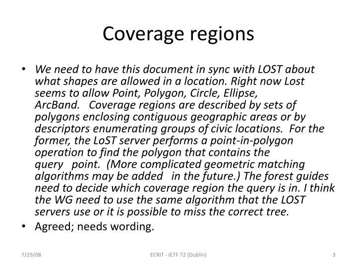 Coverage regions