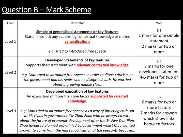 Question B – Mark Scheme