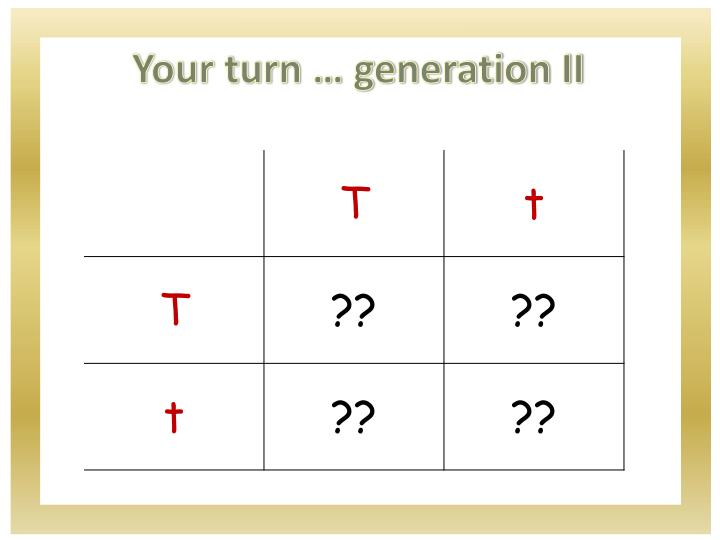 Your turn … generation II