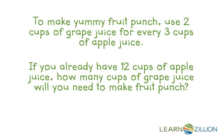 To make yummy fruit punch, use 2 cups of grape juice for every 3 cups of apple juice.