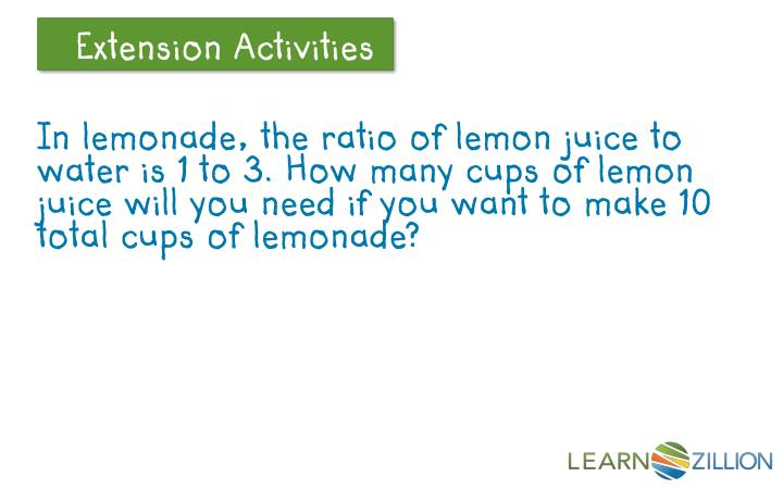 In lemonade, the ratio of lemon juice to water is 1 to 3. How many cups of lemon juice will you need if you want to make 10 total cups of lemonade?