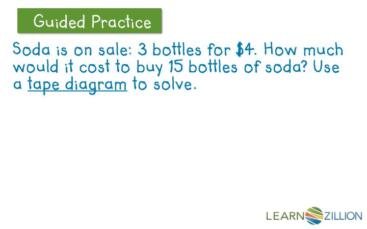 Soda is on sale: 3 bottles for $4. How much would it cost to buy 15 bottles of soda? Use a