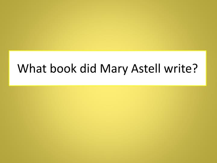 What book did Mary