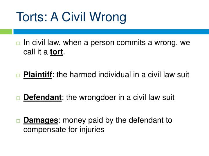 Torts a civil wrong