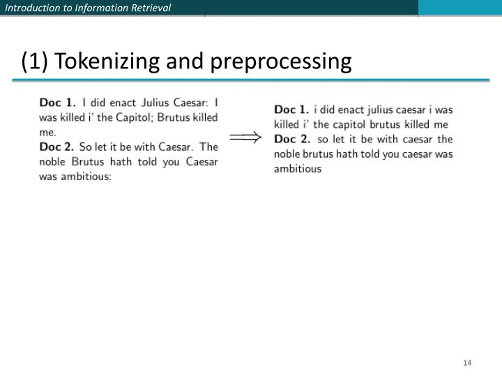 (1) Tokenizing and preprocessing