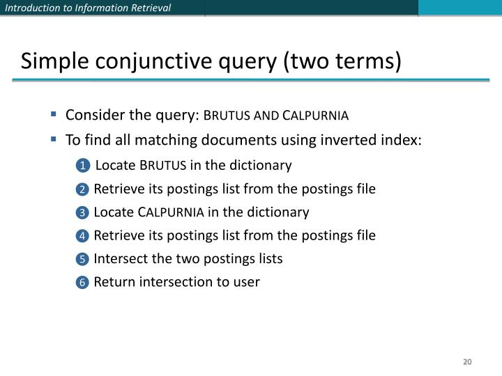 Simple conjunctive query (two terms)