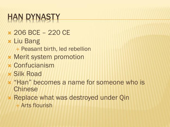 206 BCE – 220 CE