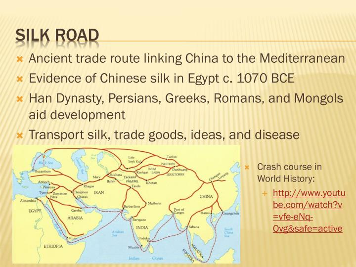 Ancient trade route linking China to the Mediterranean