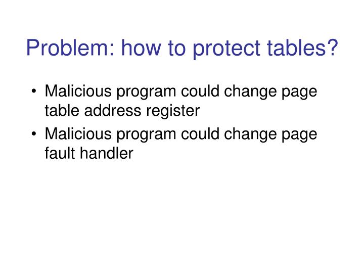 Problem: how to protect tables?