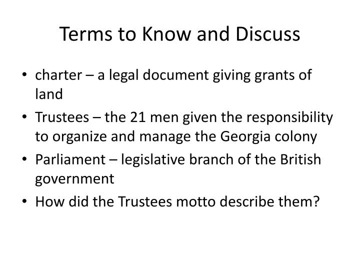 Terms to Know and Discuss