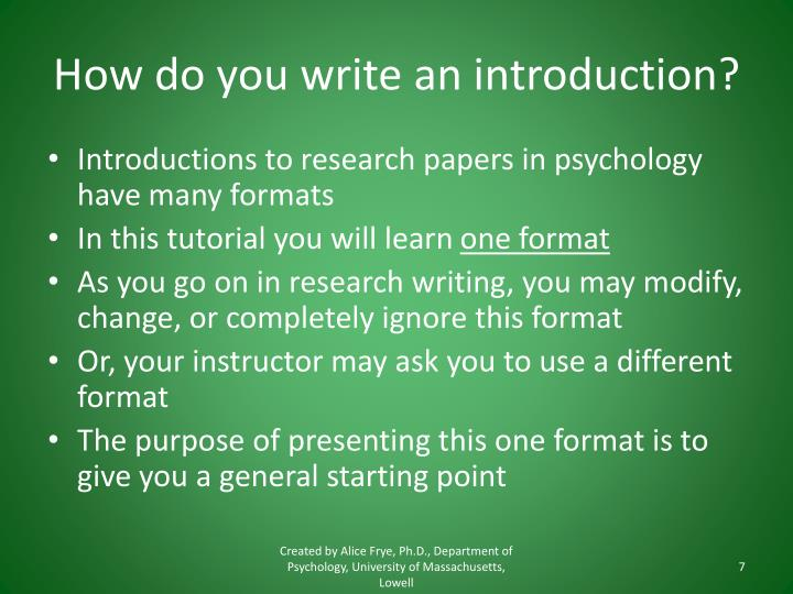 How do you write an introduction?