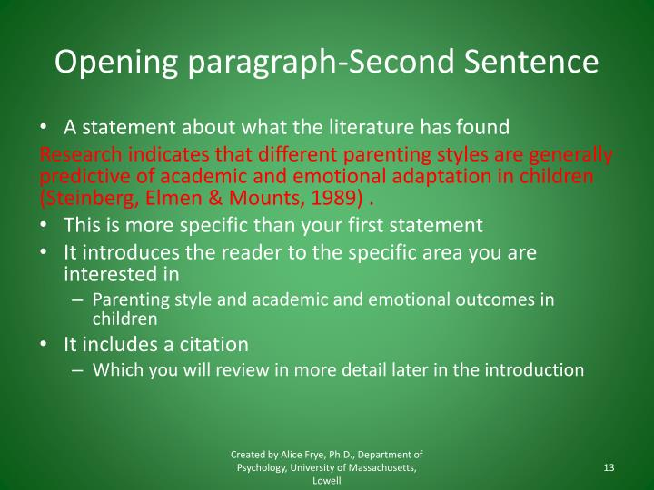 Opening paragraph-Second Sentence