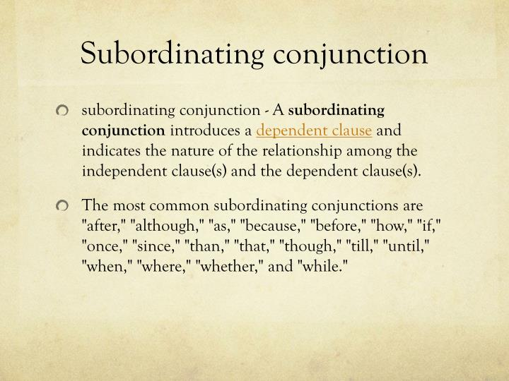 Subordinating