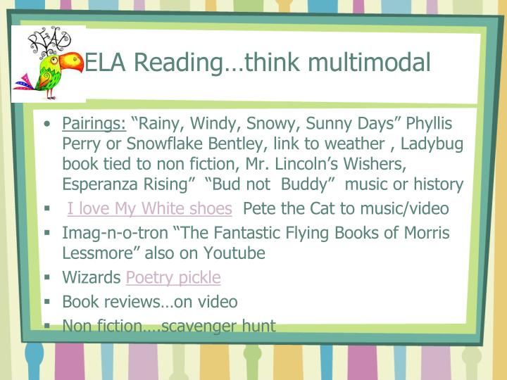 ELA Reading…think multimodal
