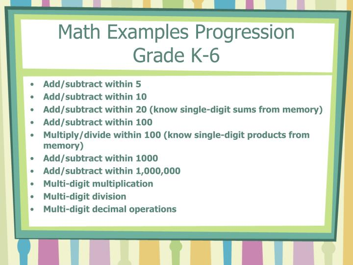 Math Examples Progression