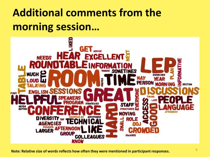 Additional comments from the morning session…