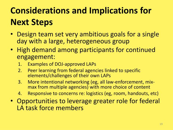 Considerations and Implications for Next Steps