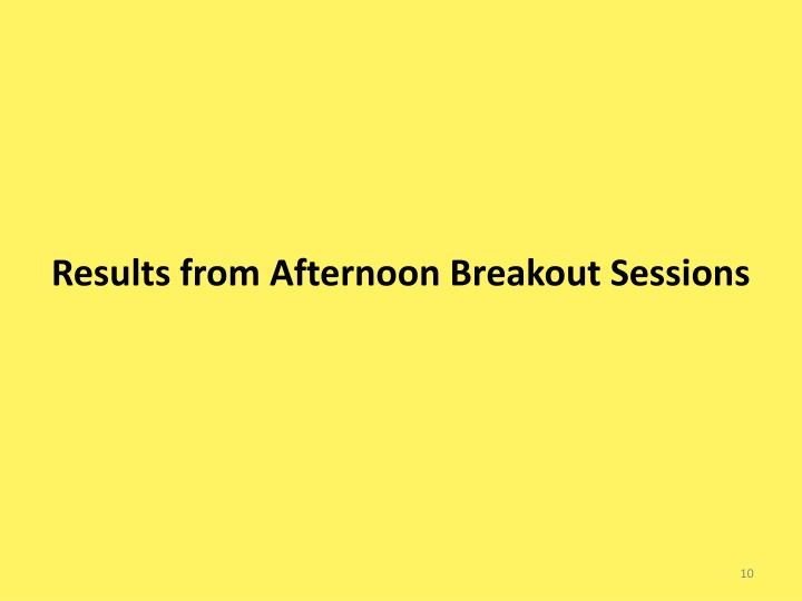 Results from Afternoon Breakout Sessions