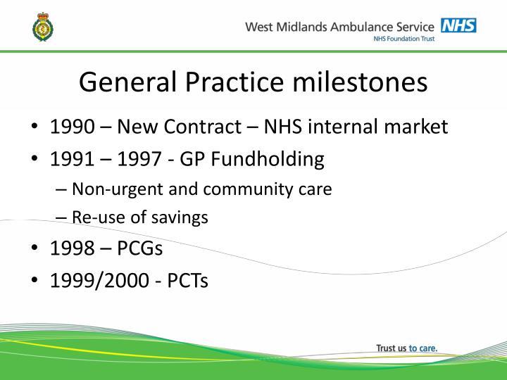 General Practice milestones