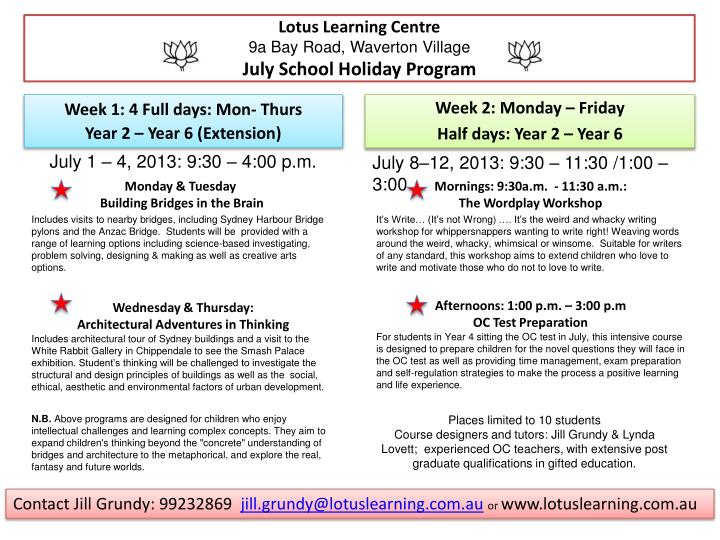 Lotus learning centre 9a bay road waverton village july school holiday program