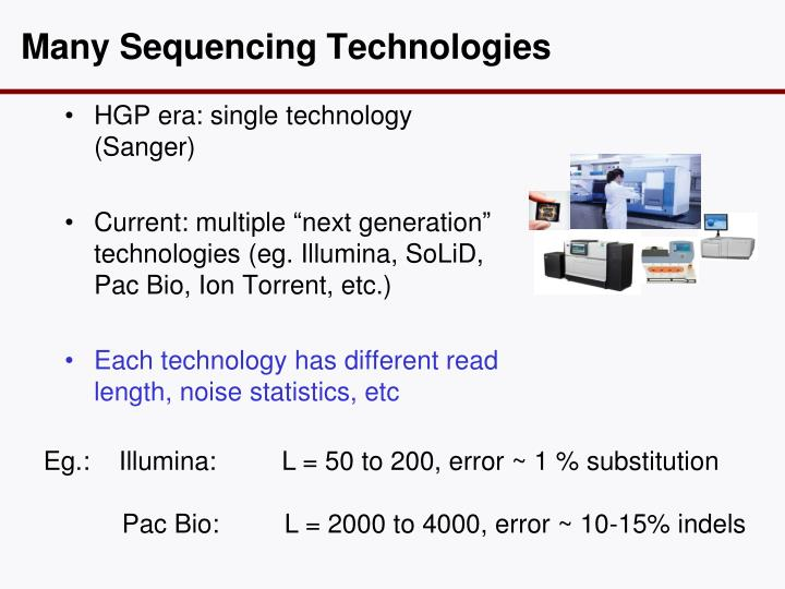 Many Sequencing Technologies