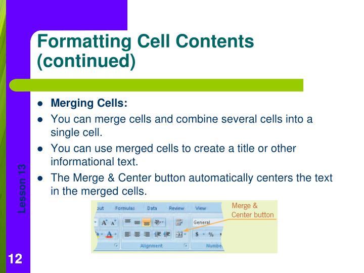 Merging Cells: