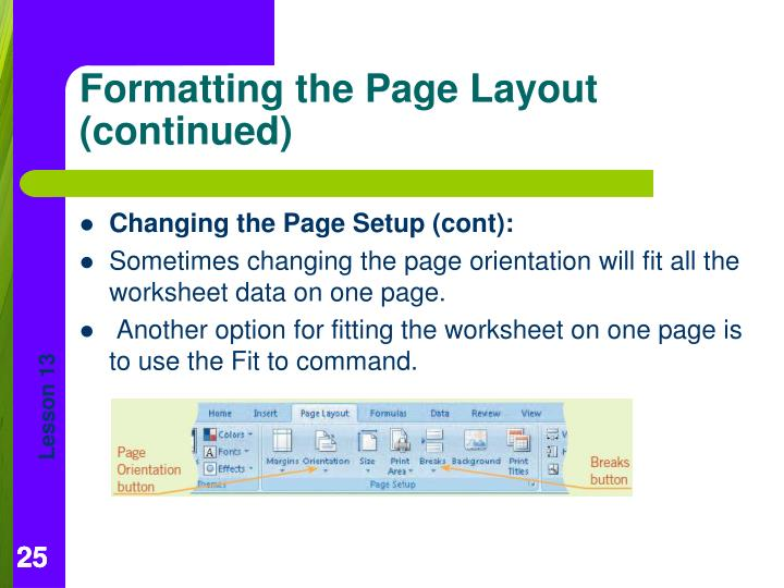 Changing the Page Setup (cont):