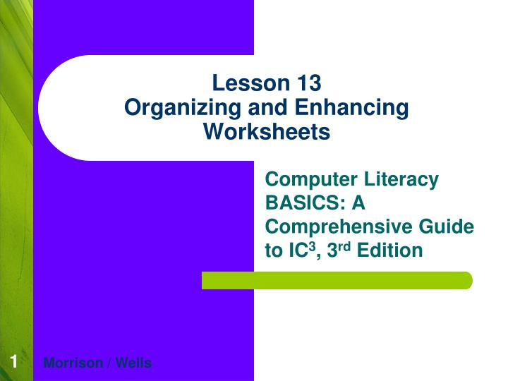 Lesson 13 organizing and enhancing worksheets