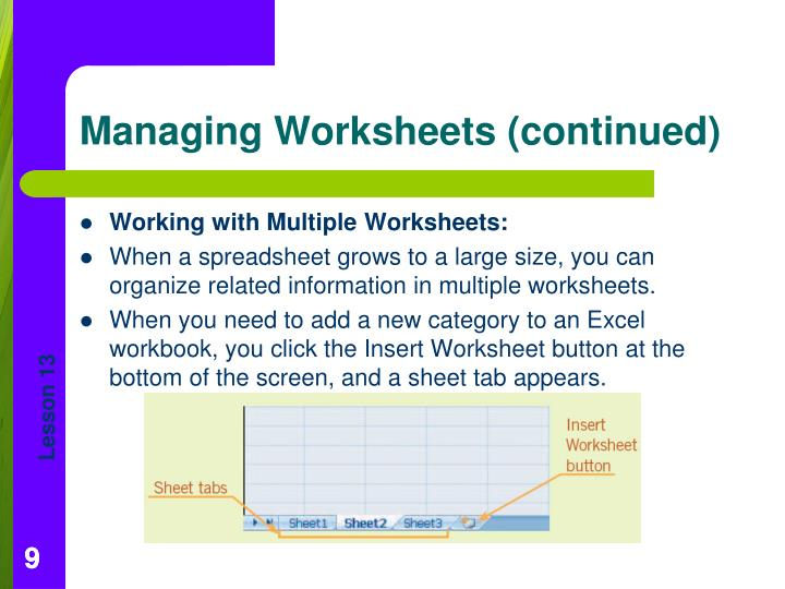 Working with Multiple Worksheets: