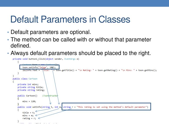 Default parameters are optional.