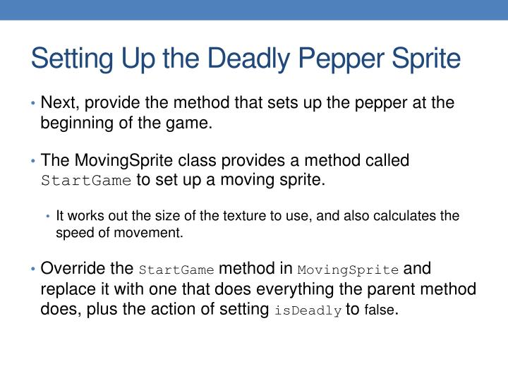 Setting Up the Deadly Pepper Sprite