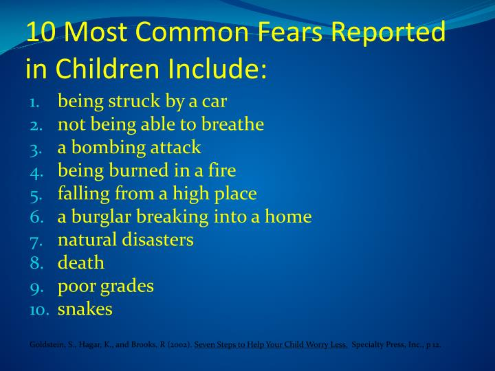 10 Most Common Fears Reported in Children Include: