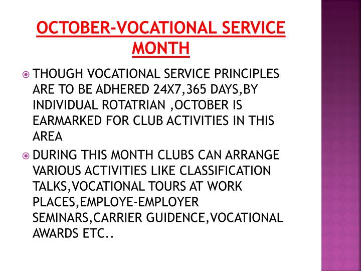 OCTOBER-VOCATIONAL SERVICE MONTH