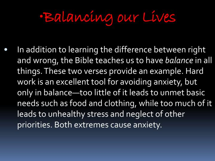 Balancing our Lives