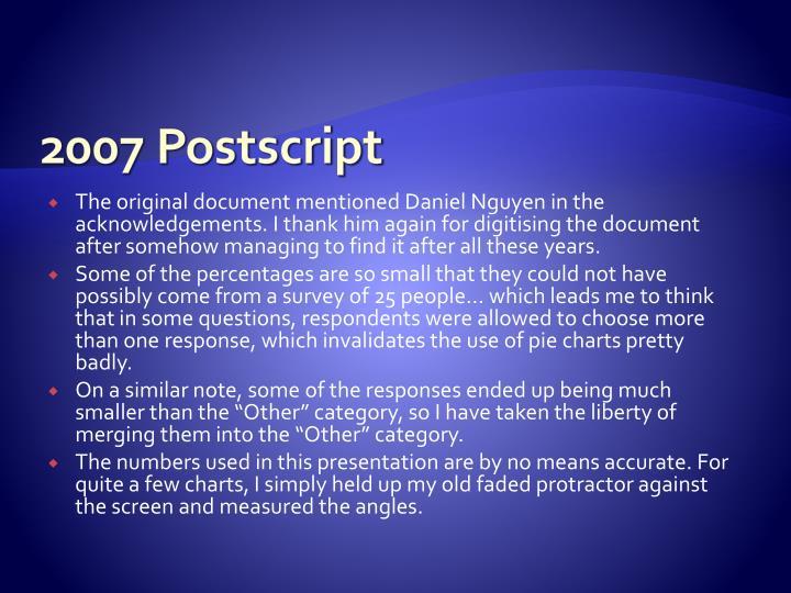 2007 Postscript