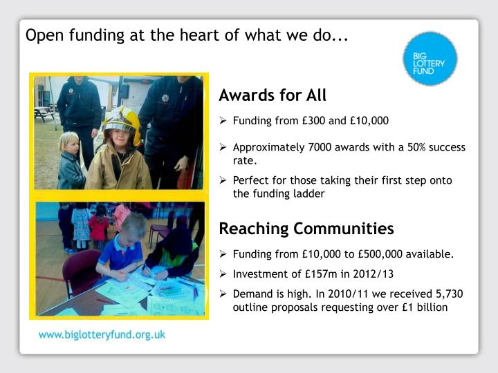 Open funding at the heart of what we do...
