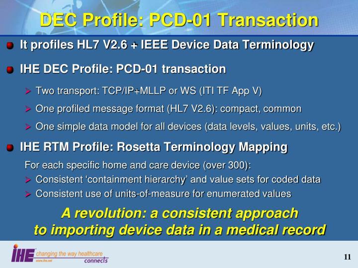 DEC Profile: PCD-01 Transaction