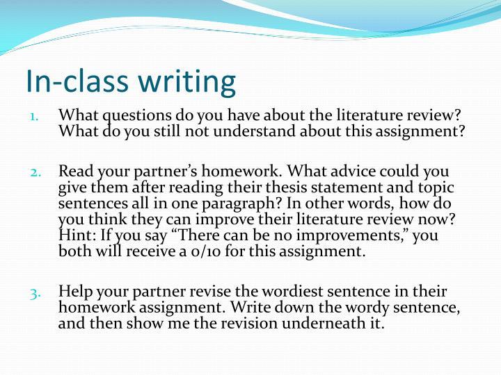 In-class writing