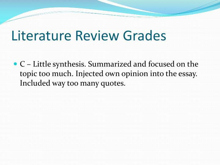 Literature Review Grades