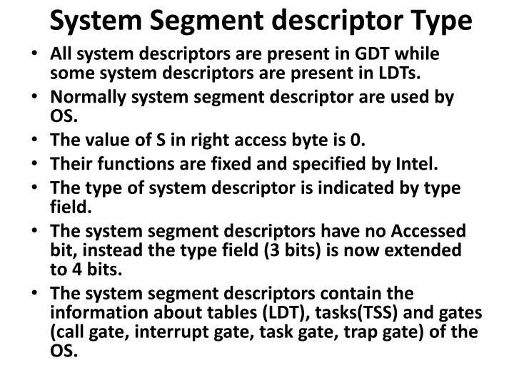 System Segment descriptor Type