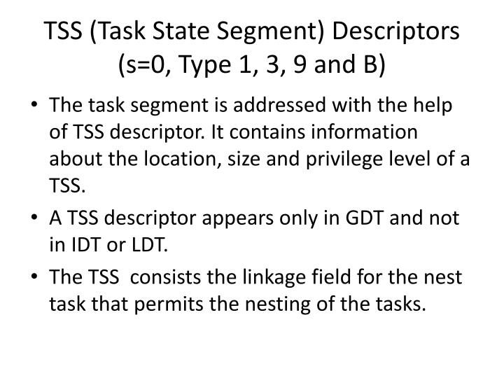 TSS (Task State Segment) Descriptors (s=0, Type 1, 3, 9 and B)