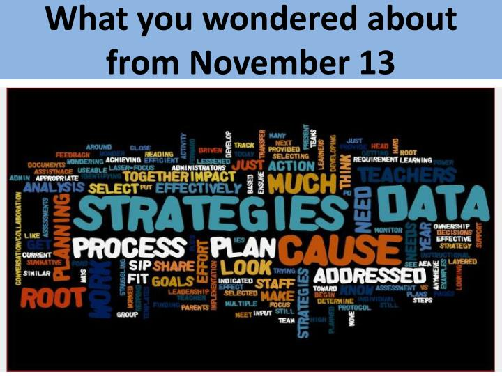 What you wondered about from November 13
