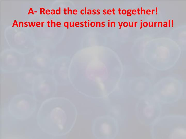 A read the class set together answer the questions in your journal