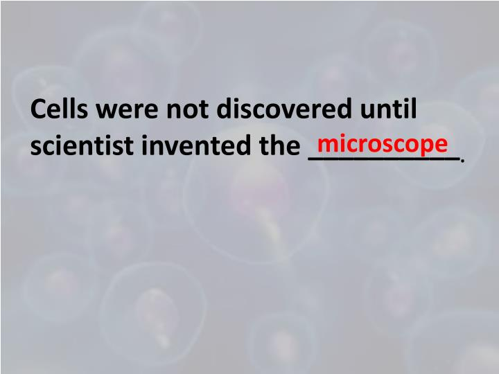 Cells were not discovered until scientist invented the __________